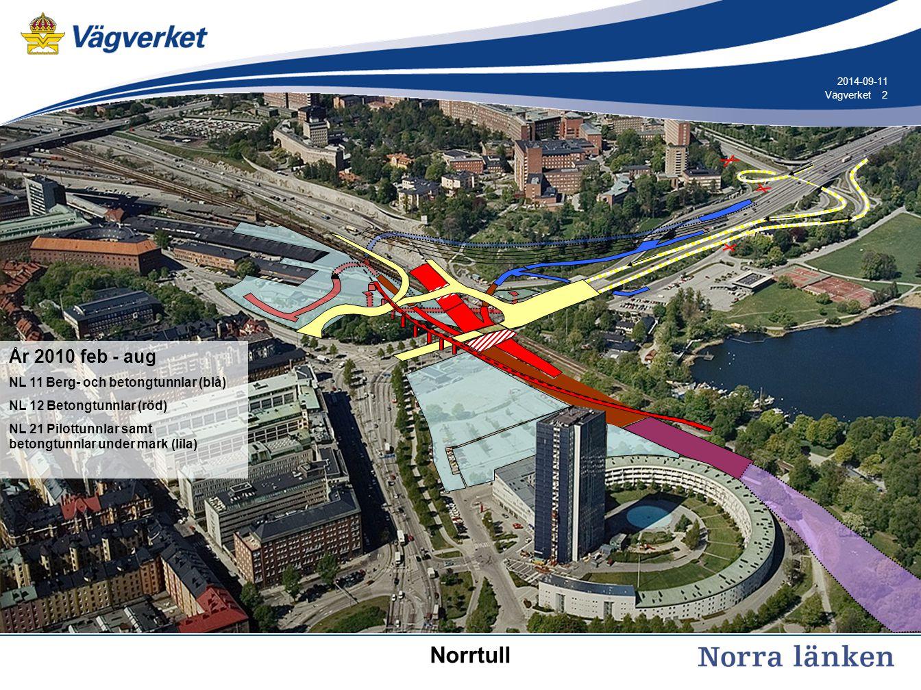 2 2Vägverket 2014-09-11 År 2010 feb - aug NL 11 Berg- och betongtunnlar (blå) NL 12 Betongtunnlar (röd) NL 21 Pilottunnlar samt betongtunnlar under mark (lila) Norrtull