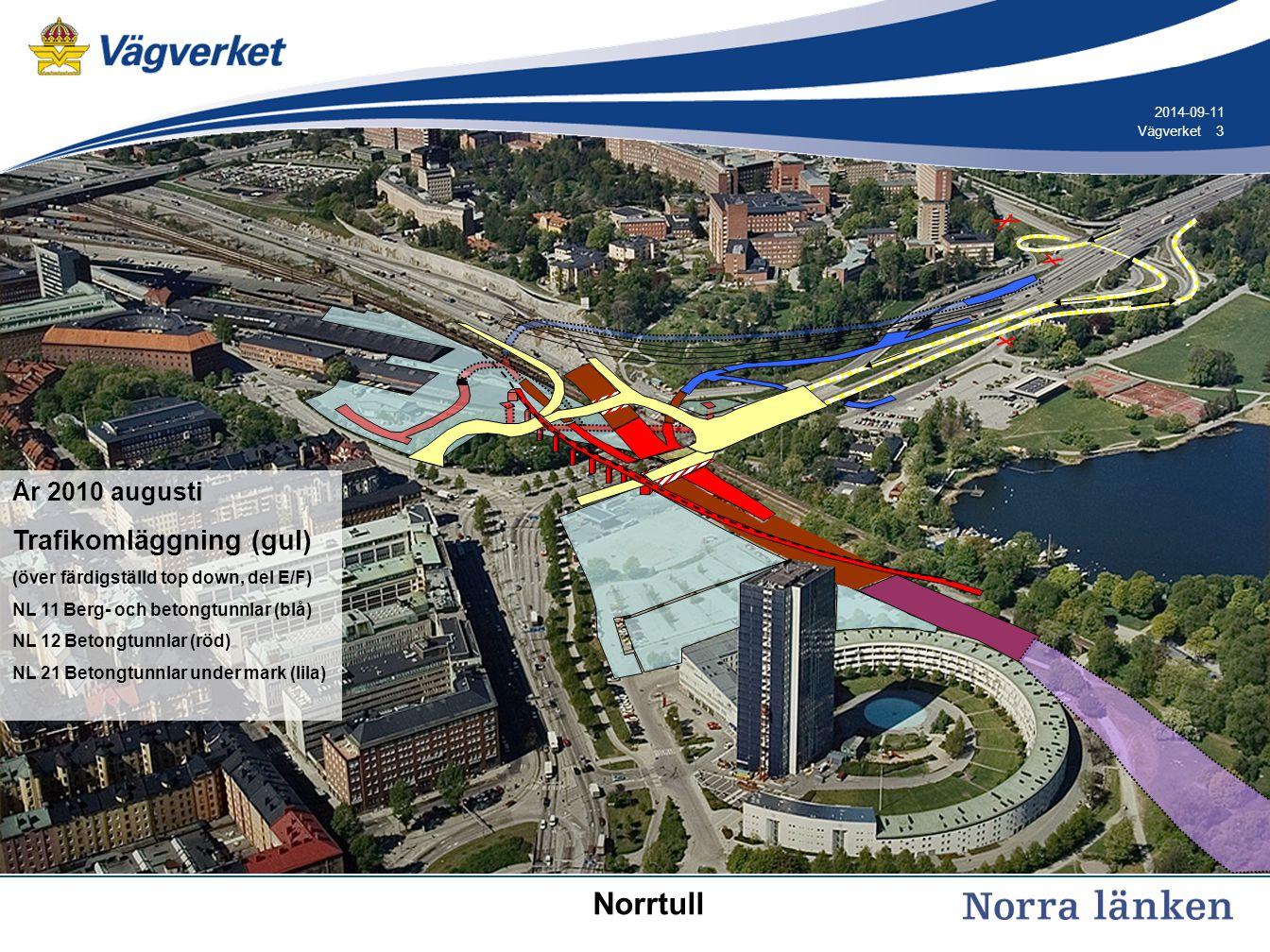 3 3Vägverket 2014-09-11 År 2010 augusti Trafikomläggning (gul) (över färdigställd top down, del E/F) NL 11 Berg- och betongtunnlar (blå) NL 12 Betongtunnlar (röd) NL 21 Betongtunnlar under mark (lila) Norrtull