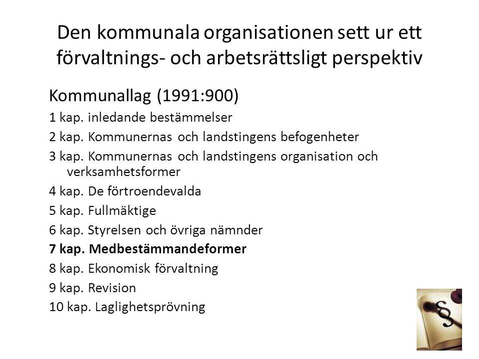 Den kommunala organisationen sett ur ett förvaltnings- och arbetsrättsligt perspektiv Kommunallag (1991:900) 1 kap. inledande bestämmelser 2 kap. Komm