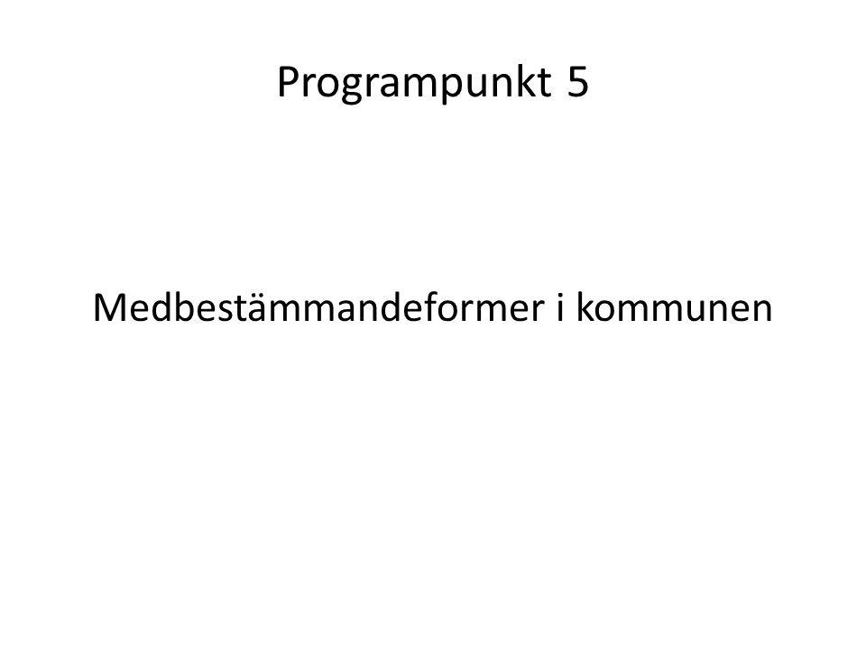 Programpunkt 5 Medbestämmandeformer i kommunen