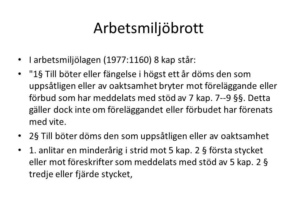 Arbetsmiljöbrott I arbetsmiljölagen (1977:1160) 8 kap står: