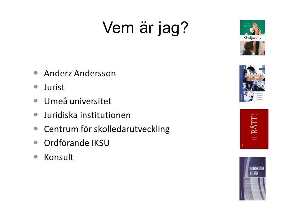 Vem är jag? Anderz Andersson Jurist Umeå universitet Juridiska institutionen Centrum för skolledarutveckling Ordförande IKSU Konsult