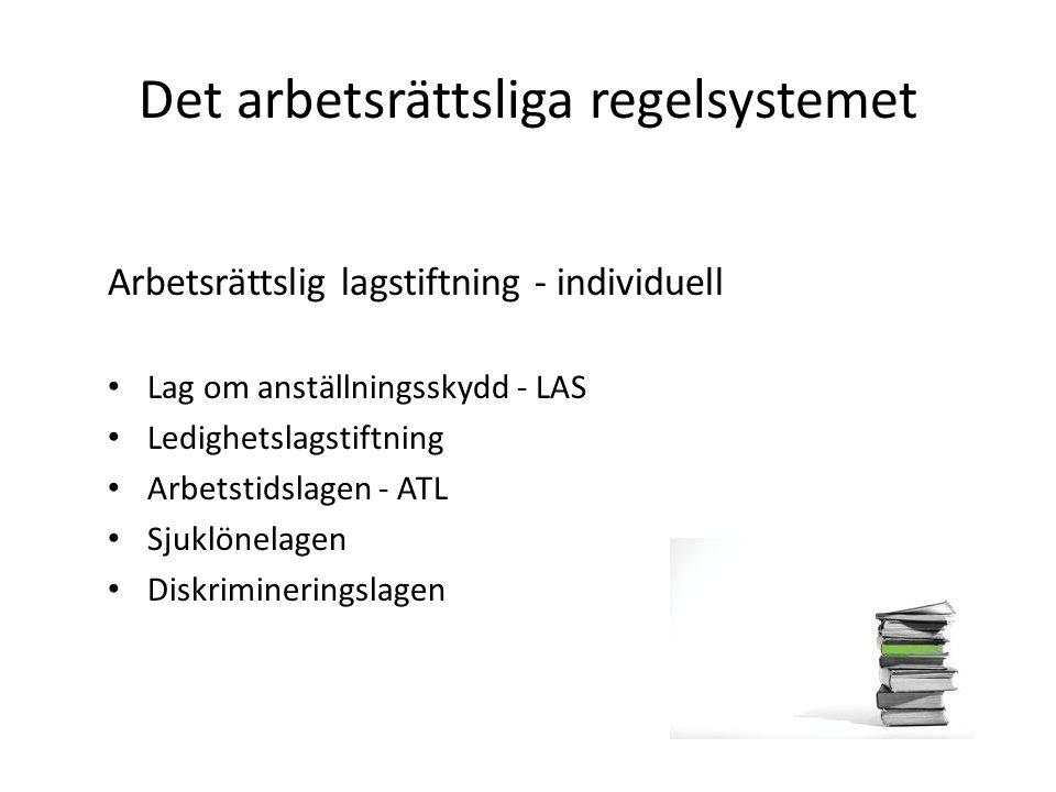 Det arbetsrättsliga regelsystemet Arbetsrättslig lagstiftning - individuell Lag om anställningsskydd - LAS Ledighetslagstiftning Arbetstidslagen - ATL