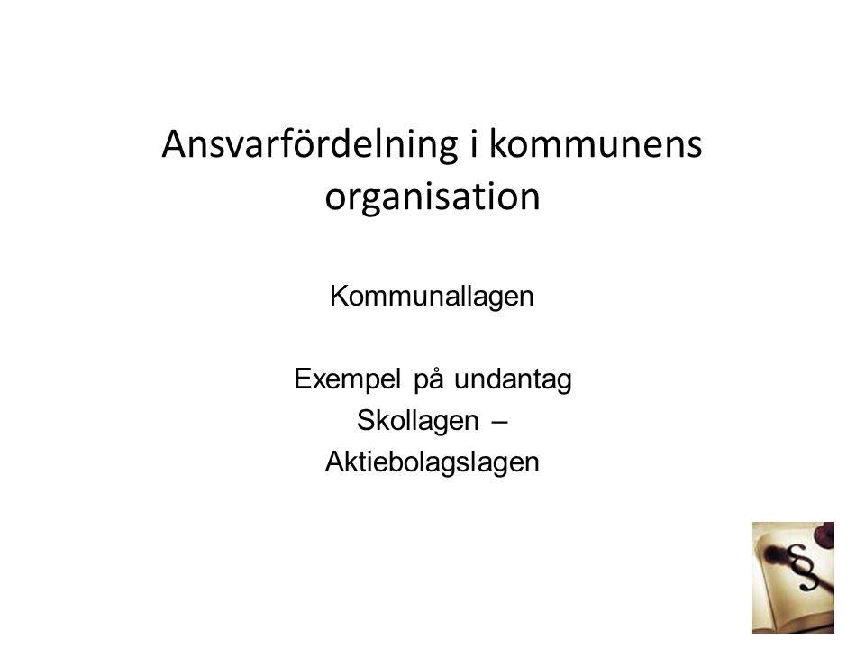 Ansvarfördelning i kommunens organisation Kommunallagen Exempel på undantag Skollagen – Aktiebolagslagen