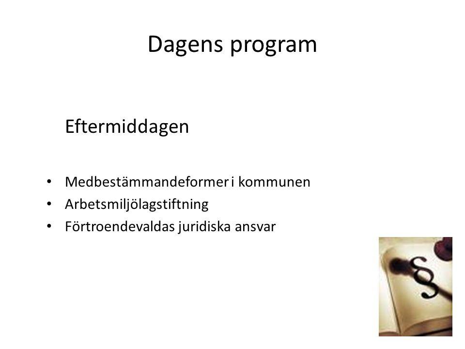 Dagens program Eftermiddagen Medbestämmandeformer i kommunen Arbetsmiljölagstiftning Förtroendevaldas juridiska ansvar