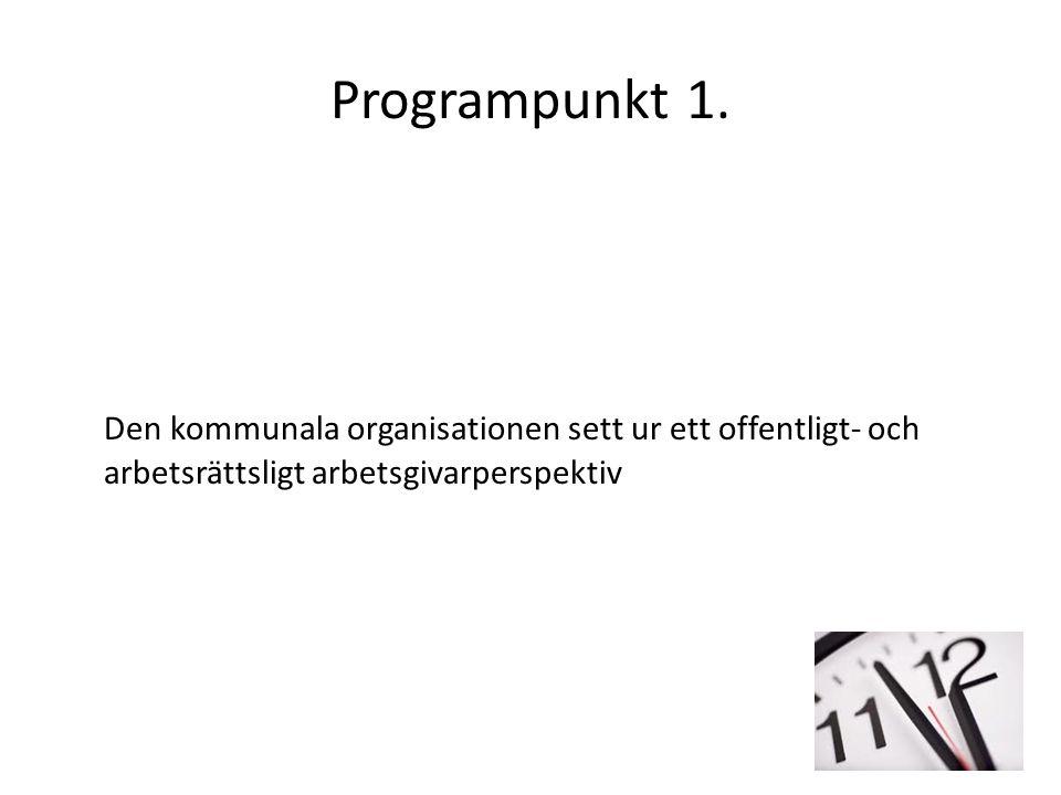 Programpunkt 1. Den kommunala organisationen sett ur ett offentligt- och arbetsrättsligt arbetsgivarperspektiv