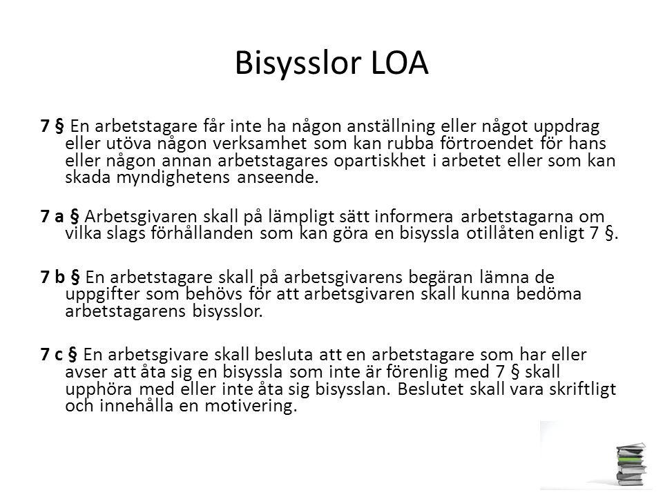 Bisysslor LOA 7 § En arbetstagare får inte ha någon anställning eller något uppdrag eller utöva någon verksamhet som kan rubba förtroendet för hans el