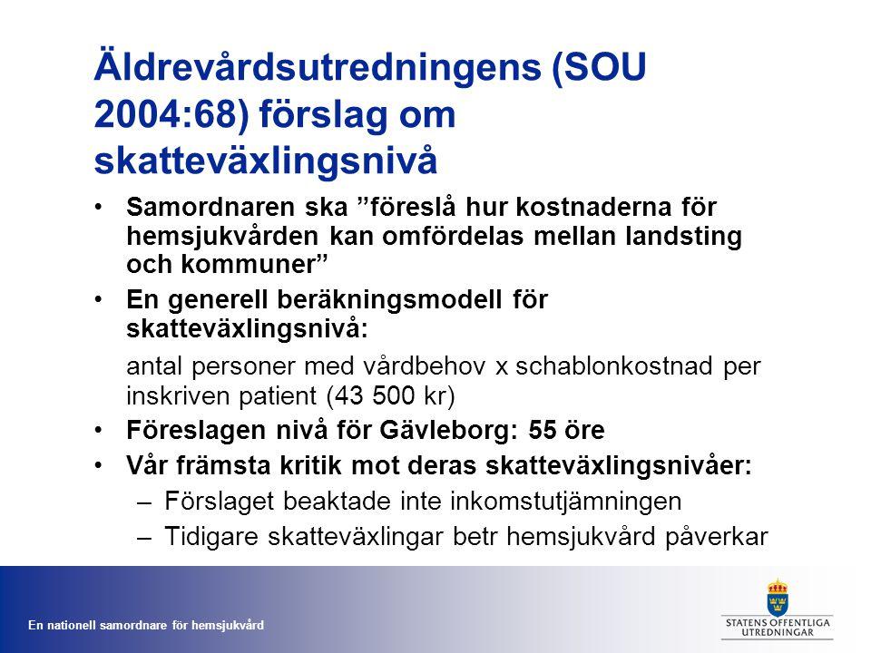 """En nationell samordnare för hemsjukvård Äldrevårdsutredningens (SOU 2004:68) förslag om skatteväxlingsnivå Samordnaren ska """"föreslå hur kostnaderna fö"""