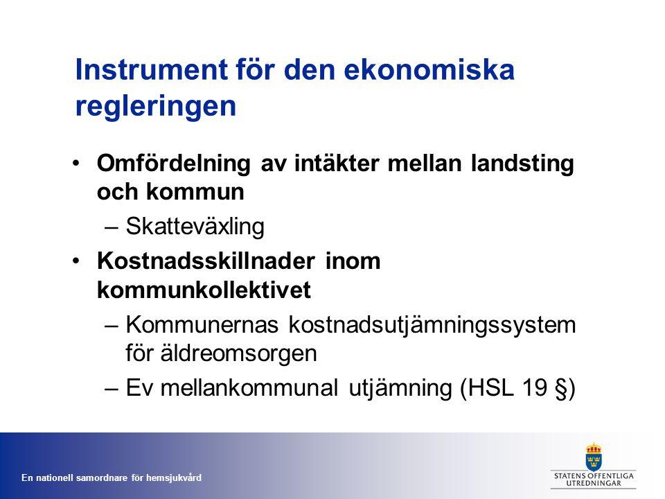 En nationell samordnare för hemsjukvård Instrument för den ekonomiska regleringen Omfördelning av intäkter mellan landsting och kommun –Skatteväxling Kostnadsskillnader inom kommunkollektivet –Kommunernas kostnadsutjämningssystem för äldreomsorgen –Ev mellankommunal utjämning (HSL 19 §)