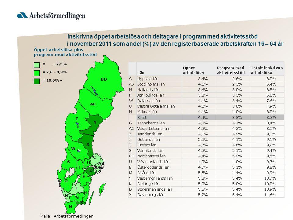 Inskrivna öppet arbetslösa och deltagare i program med aktivitetsstöd i november 2011 som andel (%) av den registerbaserade arbetskraften 16 – 64 år K