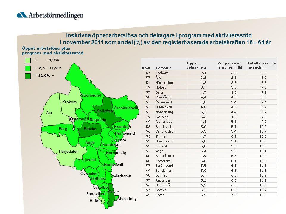 Inskrivna öppet arbetslösa och deltagare i program med aktivitetsstöd i november 2011 som andel (%) av den registerbaserade arbetskraften 16 – 64 år Ö