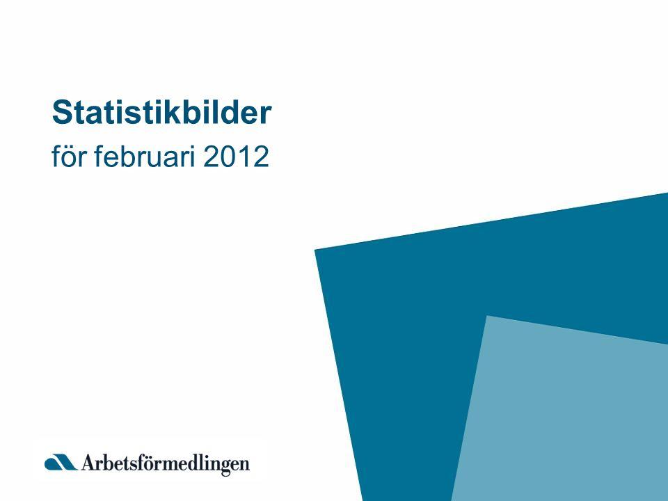 BD AC Z Y C AB S T U O N M K H I E D G X W F = 9,8 % – 1 Genomsnitt för Riket +/- 1 procentenhet = 7,7 – 9,7 % 1 = – 7,6% Totalt inskrivna arbetslösa i februari 2012 som andel (%) av den registerbaserade arbetskraften 16 – 64 år Källa: Arbetsförmedlingen