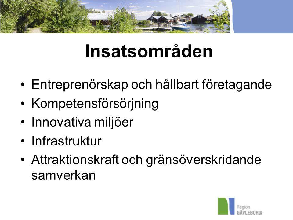 Insatsområden Entreprenörskap och hållbart företagande Kompetensförsörjning Innovativa miljöer Infrastruktur Attraktionskraft och gränsöverskridande samverkan