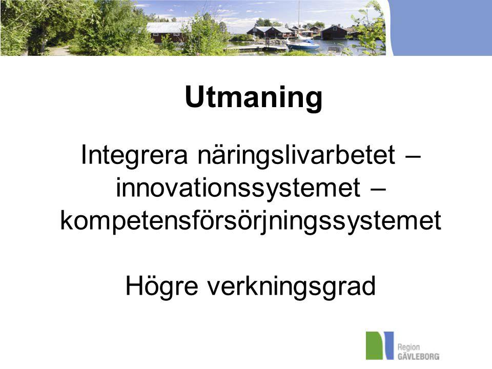 Integrera näringslivarbetet – innovationssystemet – kompetensförsörjningssystemet Högre verkningsgrad Utmaning