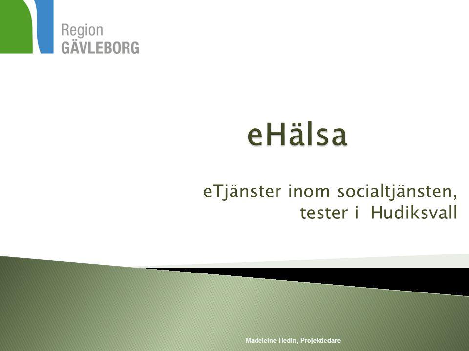 eTjänster inom socialtjänsten, tester i Hudiksvall Madeleine Hedin, Projektledare