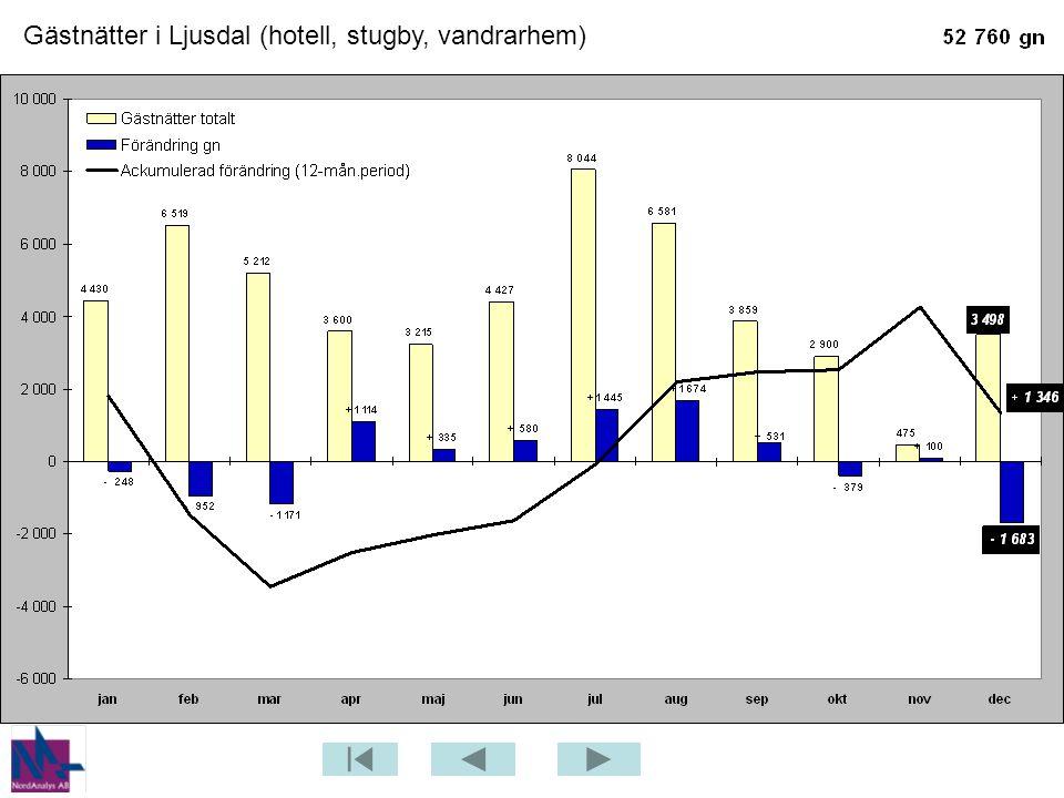 Gästnätter i Ljusdal (hotell, stugby, vandrarhem)