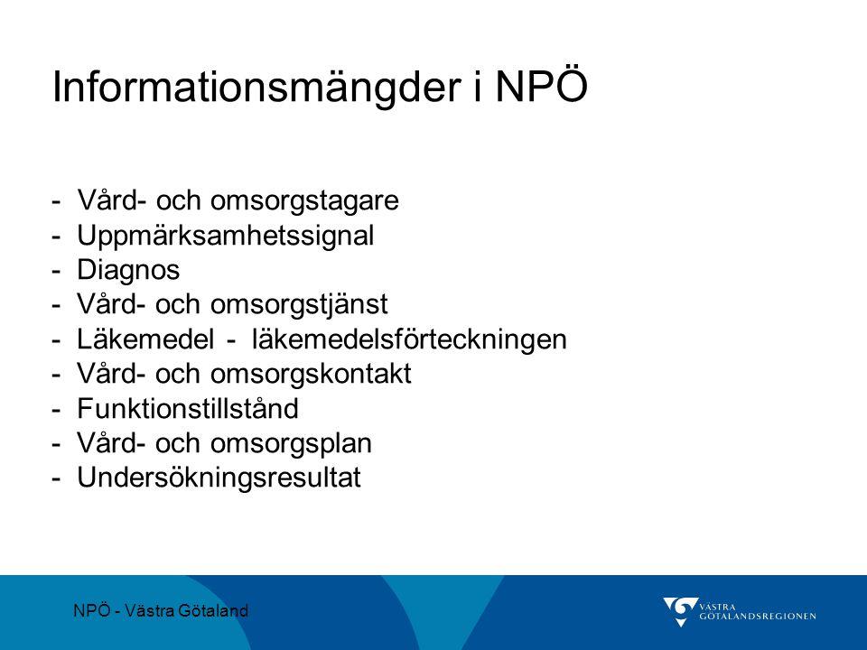Informationsmängder i NPÖ - Vård- och omsorgstagare - Uppmärksamhetssignal - Diagnos - Vård- och omsorgstjänst - Läkemedel - läkemedelsförteckningen -