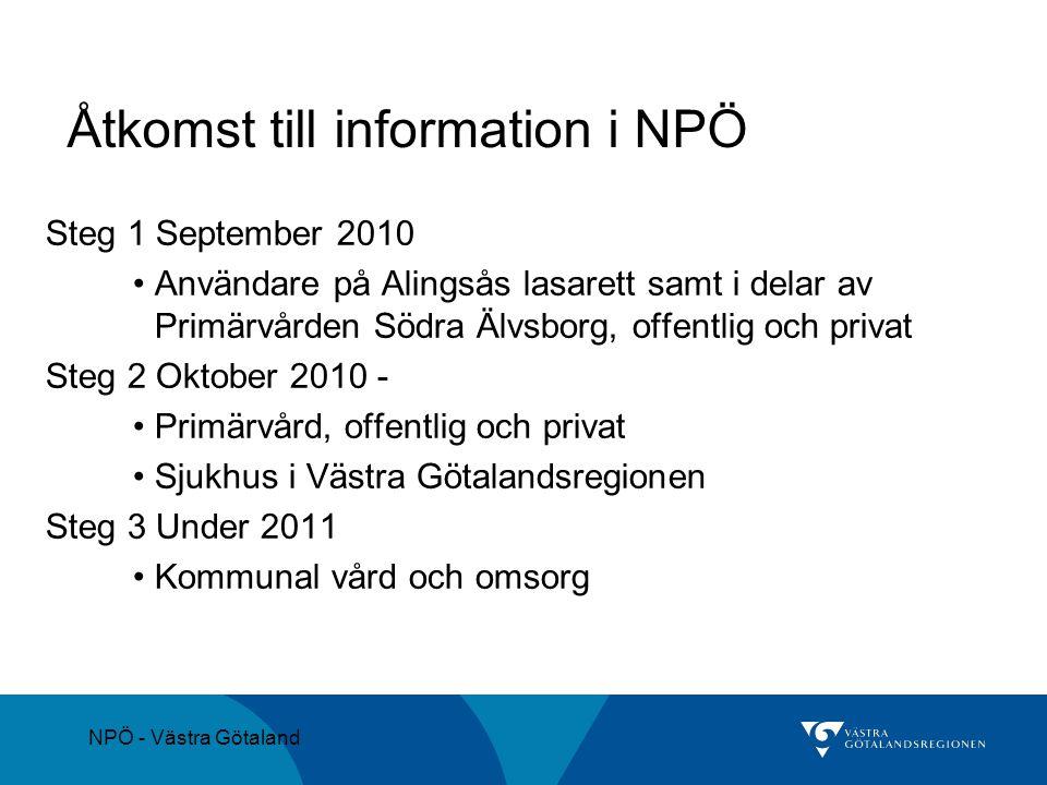 NPÖ - Västra Götaland Åtkomst till information i NPÖ Steg 1 September 2010 Användare på Alingsås lasarett samt i delar av Primärvården Södra Älvsborg,