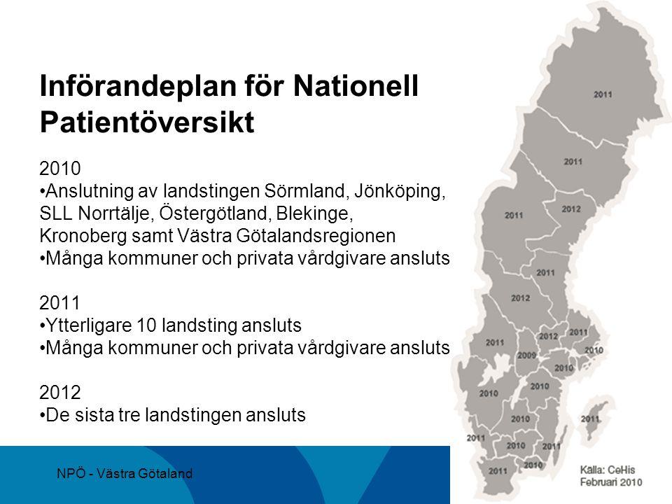 NPÖ - Västra Götaland Införandeplan för Nationell Patientöversikt 2010 Anslutning av landstingen Sörmland, Jönköping, SLL Norrtälje, Östergötland, Ble