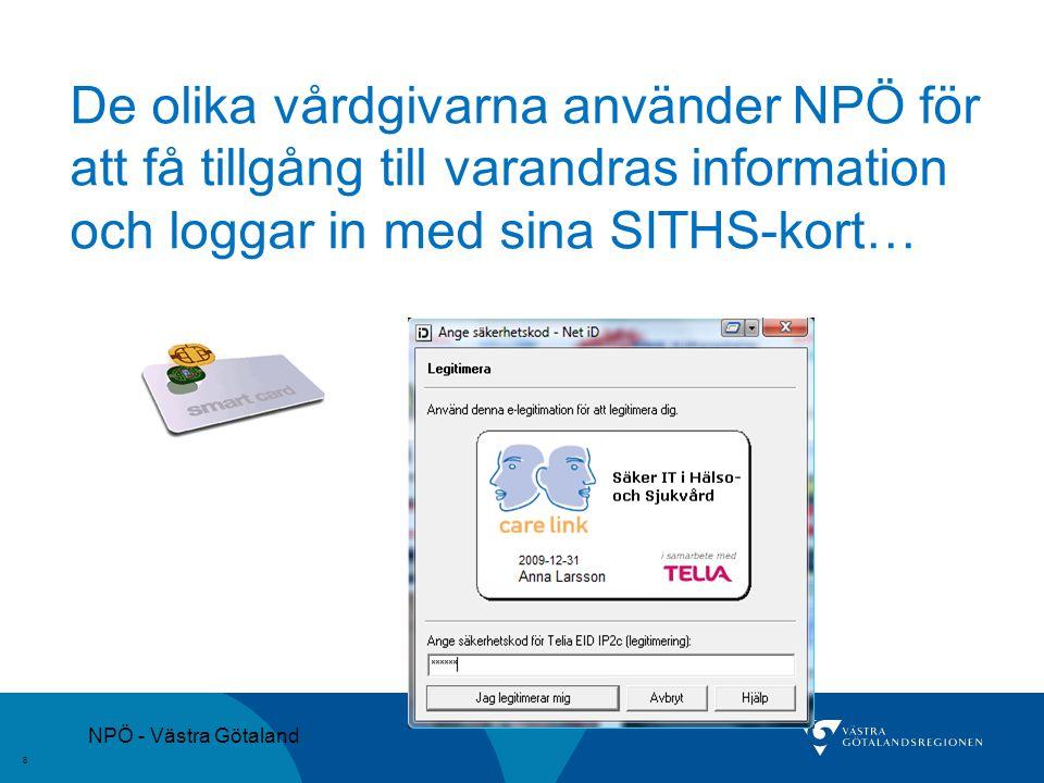 NPÖ - Västra Götaland 8 De olika vårdgivarna använder NPÖ för att få tillgång till varandras information och loggar in med sina SITHS-kort…
