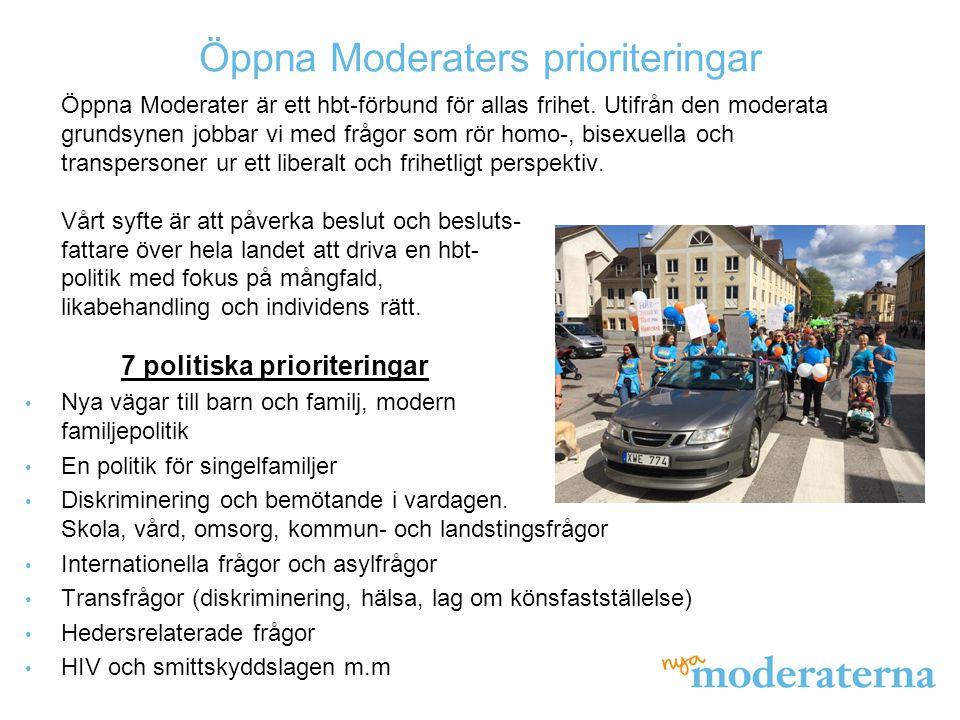 Öppna Moderaters prioriteringar Öppna Moderater är ett hbt-förbund för allas frihet. Utifrån den moderata grundsynen jobbar vi med frågor som rör homo
