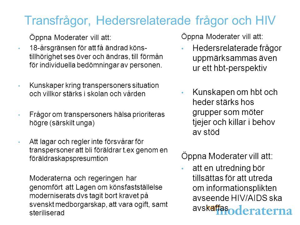 Transfrågor, Hedersrelaterade frågor och HIV Öppna Moderater vill att: 18-årsgränsen för att få ändrad köns- tillhörighet ses över och ändras, till förmån för individuella bedömningar av personen.