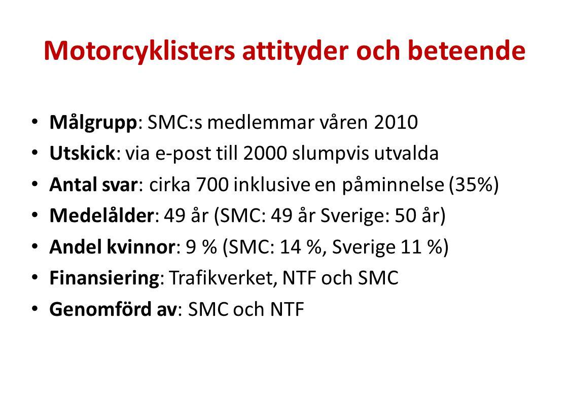 Motorcyklisters attityder och beteende Målgrupp: SMC:s medlemmar våren 2010 Utskick: via e-post till 2000 slumpvis utvalda Antal svar: cirka 700 inklu