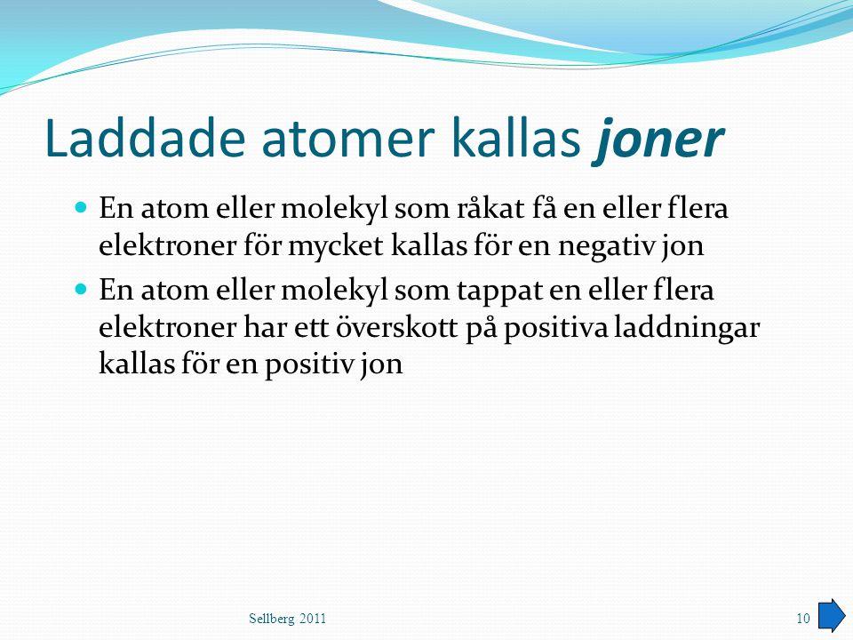 Laddade atomer kallas joner En atom eller molekyl som råkat få en eller flera elektroner för mycket kallas för en negativ jon En atom eller molekyl so