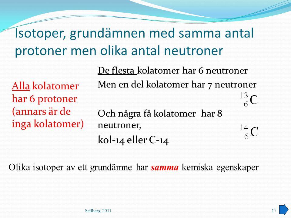 Isotoper, grundämnen med samma antal protoner men olika antal neutroner Alla kolatomer har 6 protoner (annars är de inga kolatomer) De flesta kolatome