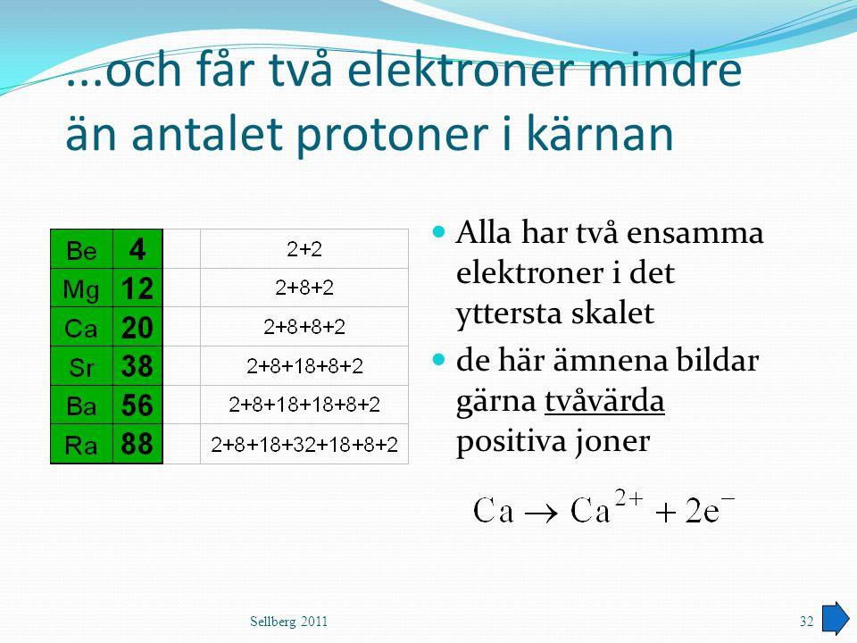 ...och får två elektroner mindre än antalet protoner i kärnan Alla har två ensamma elektroner i det yttersta skalet de här ämnena bildar gärna tvåvärd