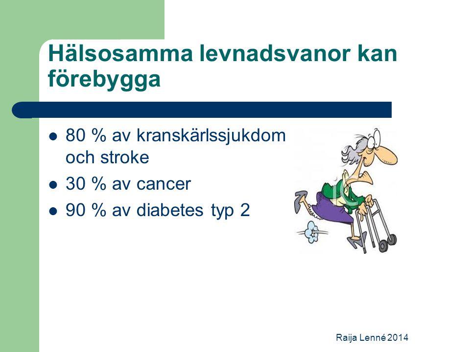 Hälsosamma levnadsvanor kan förebygga 80 % av kranskärlssjukdom och stroke 30 % av cancer 90 % av diabetes typ 2 Raija Lenné 2014
