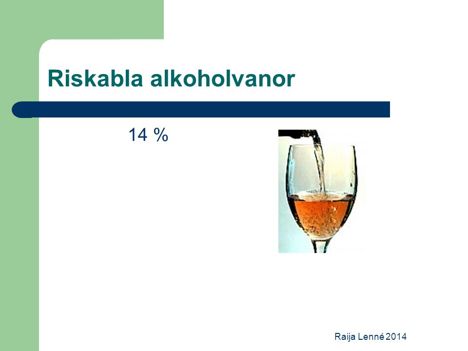 Riskabla alkoholvanor 14 % Raija Lenné 2014