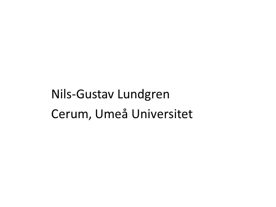 Nils-Gustav Lundgren Cerum, Umeå Universitet