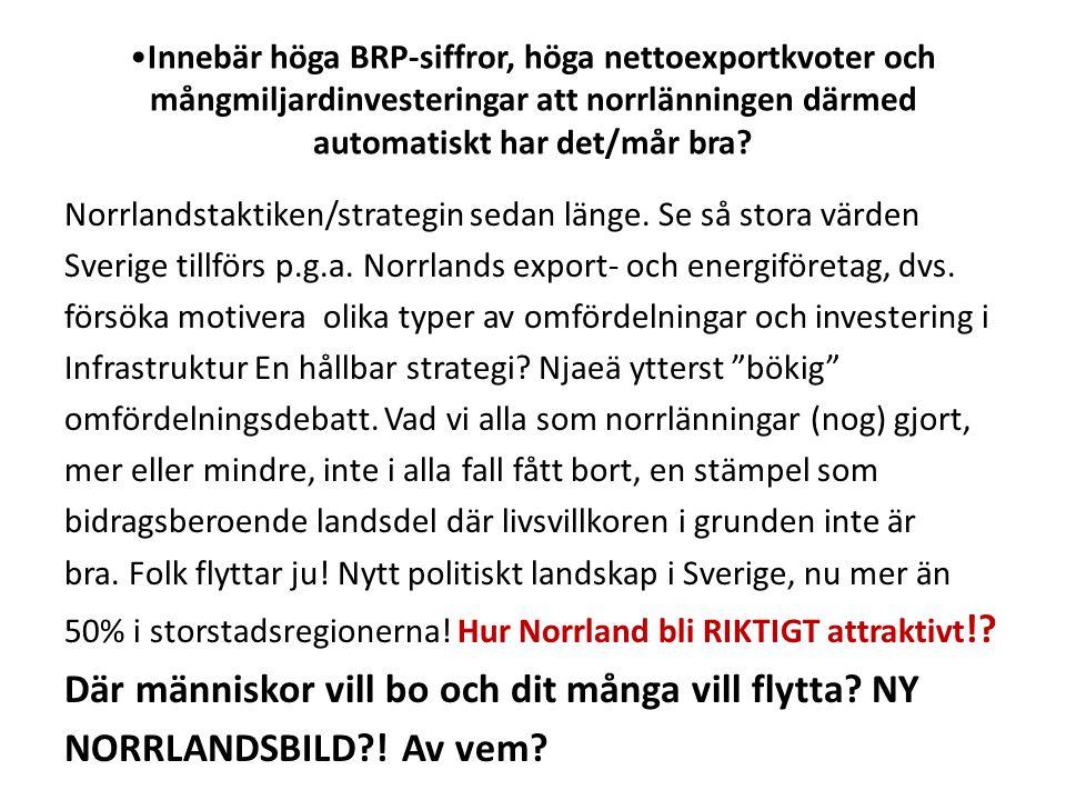 Innebär höga BRP-siffror, höga nettoexportkvoter och mångmiljardinvesteringar att norrlänningen därmed automatiskt har det/mår bra.