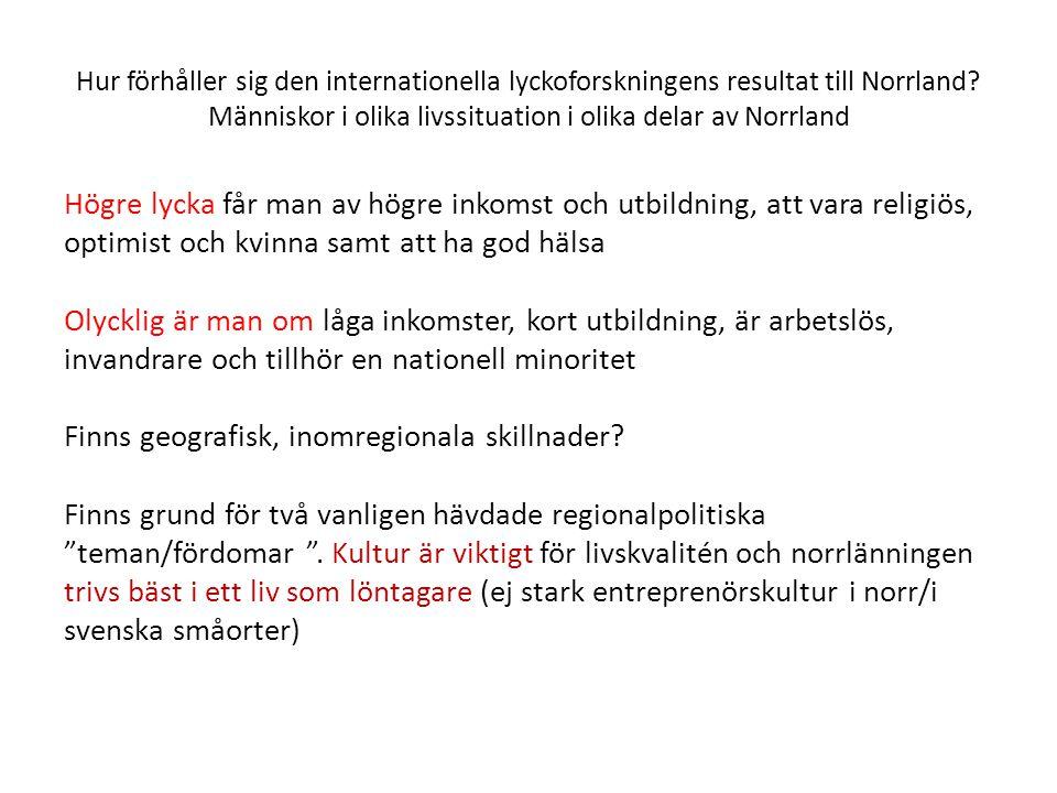 Hur förhåller sig den internationella lyckoforskningens resultat till Norrland.
