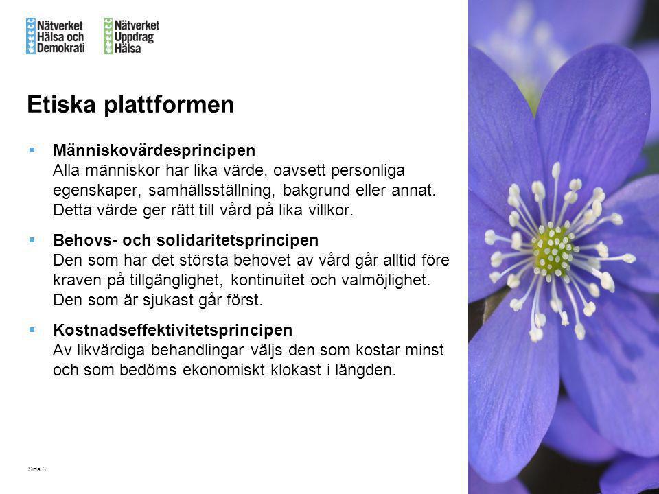 Sida 3 Etiska plattformen  Människovärdesprincipen Alla människor har lika värde, oavsett personliga egenskaper, samhällsställning, bakgrund eller an