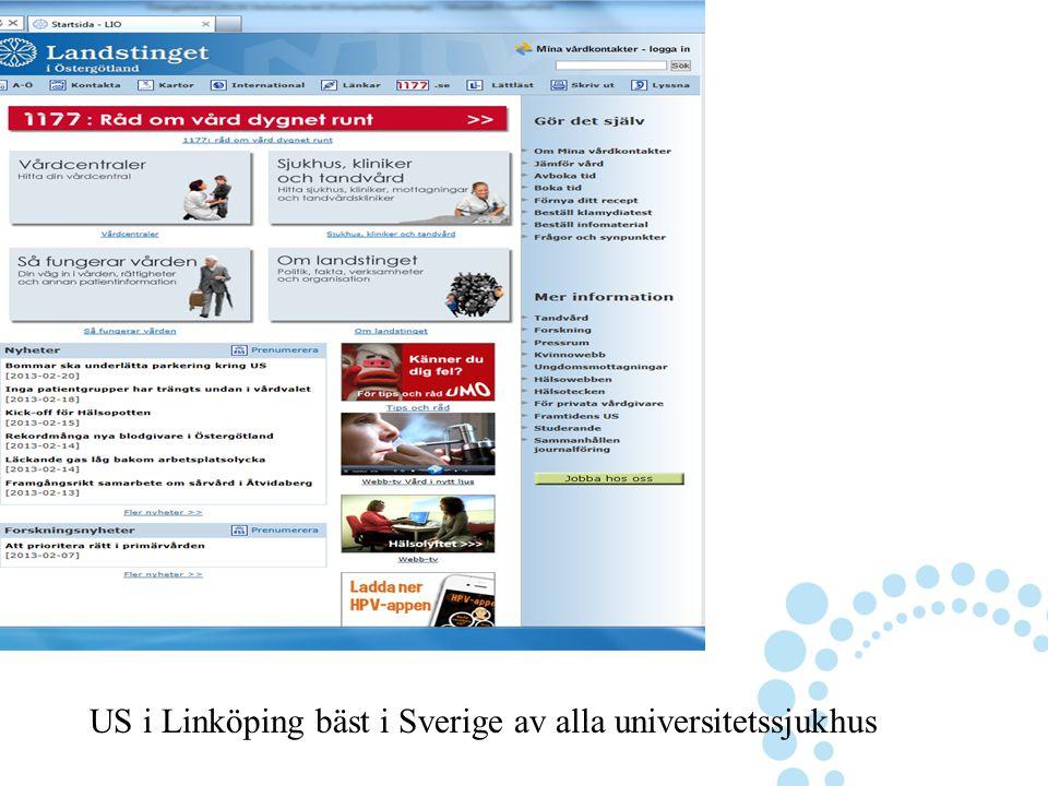 US i Linköping bäst i Sverige av alla universitetssjukhus