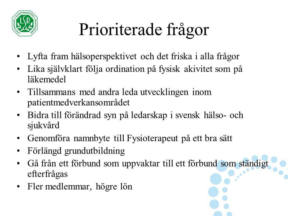 Prioriterade frågor Lyfta fram hälsoperspektivet och det friska i alla frågor Lika självklart följa ordination på fysisk akivitet som på läkemedel Tillsammans med andra leda utvecklingen inom patientmedverkansområdet Bidra till förändrad syn på ledarskap i svensk hälso- och sjukvård Genomföra namnbyte till Fysioterapeut på ett bra sätt Förlängd grundutbildning Gå från ett förbund som uppvaktar till ett förbund som ständigt efterfrågas Fler medlemmar, högre lön