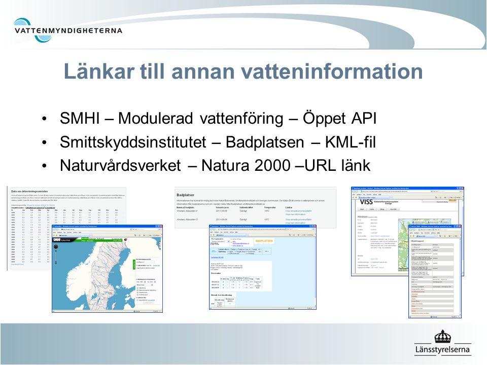Länkar till annan vatteninformation SMHI – Modulerad vattenföring – Öppet API Smittskyddsinstitutet – Badplatsen – KML-fil Naturvårdsverket – Natura 2