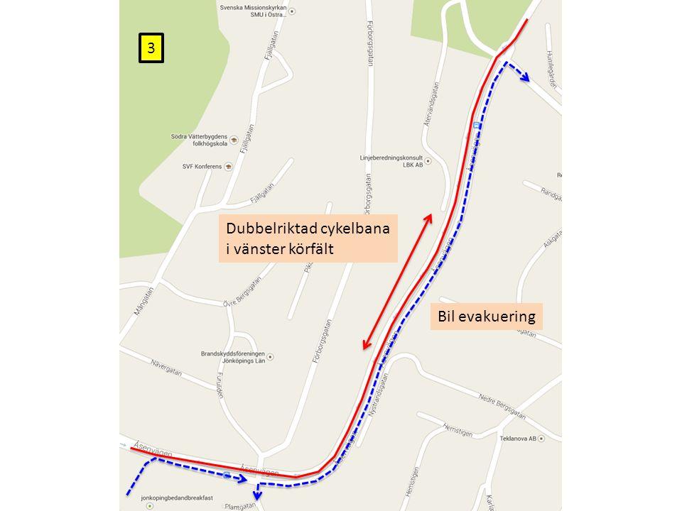 Dubbelriktad cykelbana i vänster körfält Bil evakuering 3