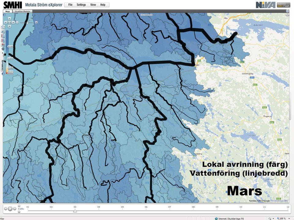 Mars Lokal avrinning (färg) Vattenföring (linjebredd)