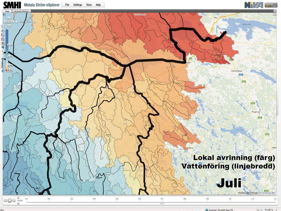 Juli Lokal avrinning (färg) Vattenföring (linjebredd)
