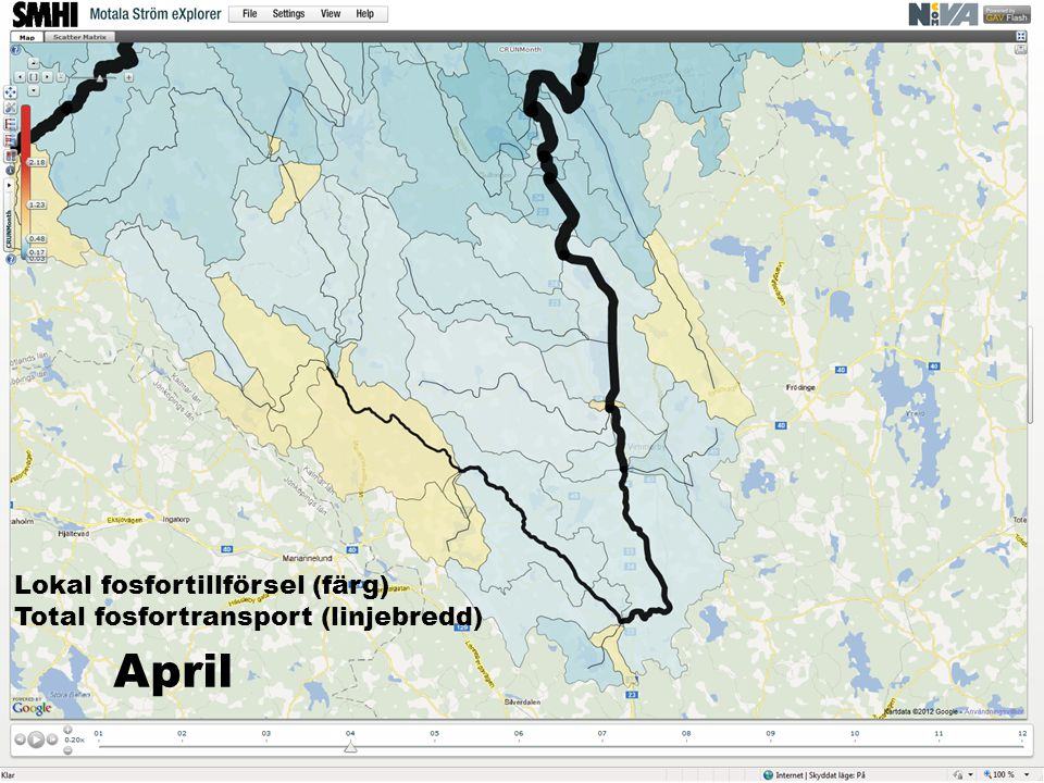 Lokal fosfortillförsel (färg) Total fosfortransport (linjebredd) April