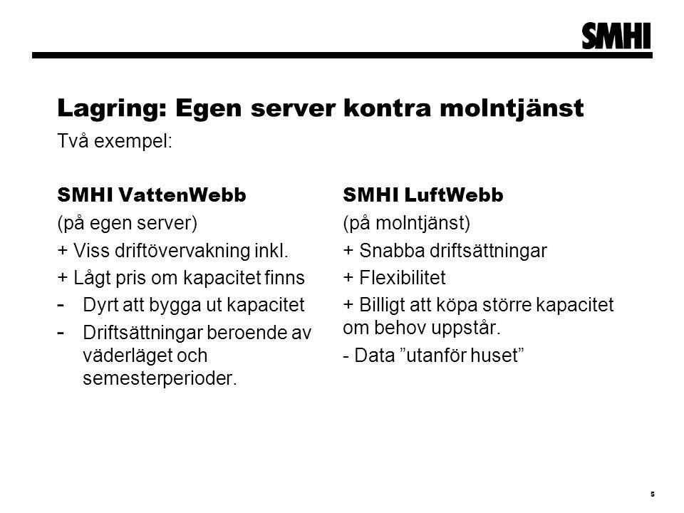 Lagring: Egen server kontra molntjänst Två exempel: SMHI VattenWebb (på egen server) + Viss driftövervakning inkl. + Lågt pris om kapacitet finns - Dy