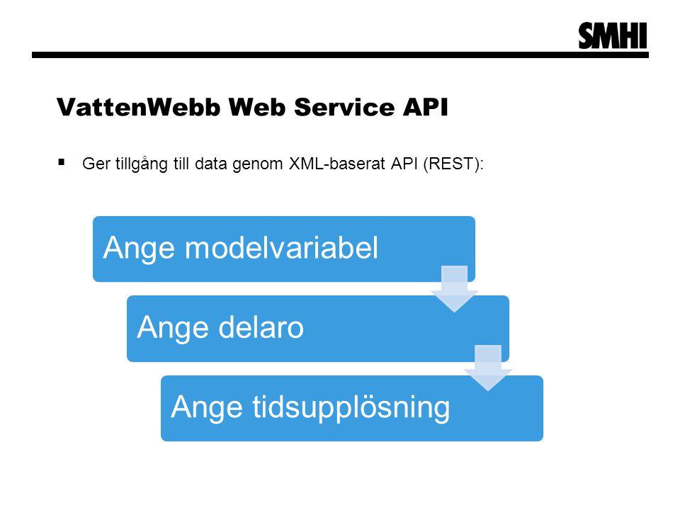 VattenWebb Web Service API  Ger tillgång till data genom XML-baserat API (REST): Ange modelvariabelAnge delaroAnge tidsupplösning