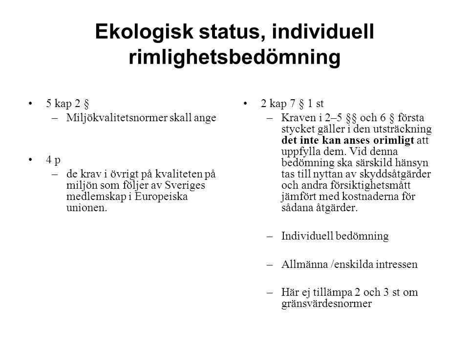 Ekologisk status, individuell rimlighetsbedömning 5 kap 2 § –Miljökvalitetsnormer skall ange 4 p –de krav i övrigt på kvaliteten på miljön som följer