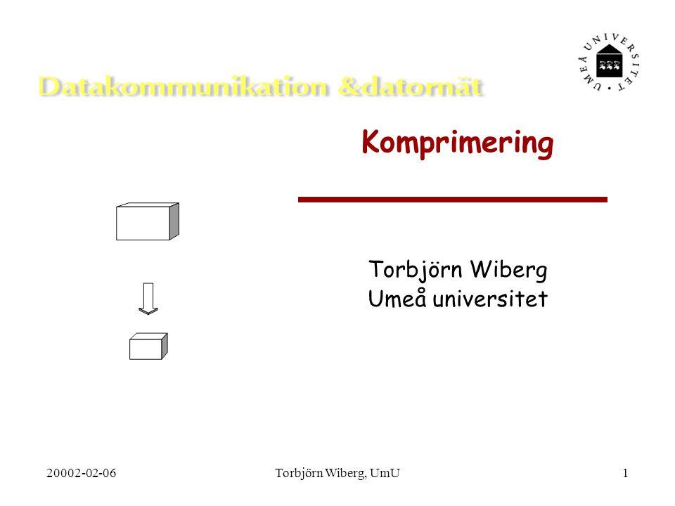 20002-02-06Torbjörn Wiberg, UmU2 Disposition  Inledning  Två typer av komprimering  Komprimeringsmetoder  Inför val av metod  Ljudkomprimering  Bildkomprimering  Film- och animeringskomprimering