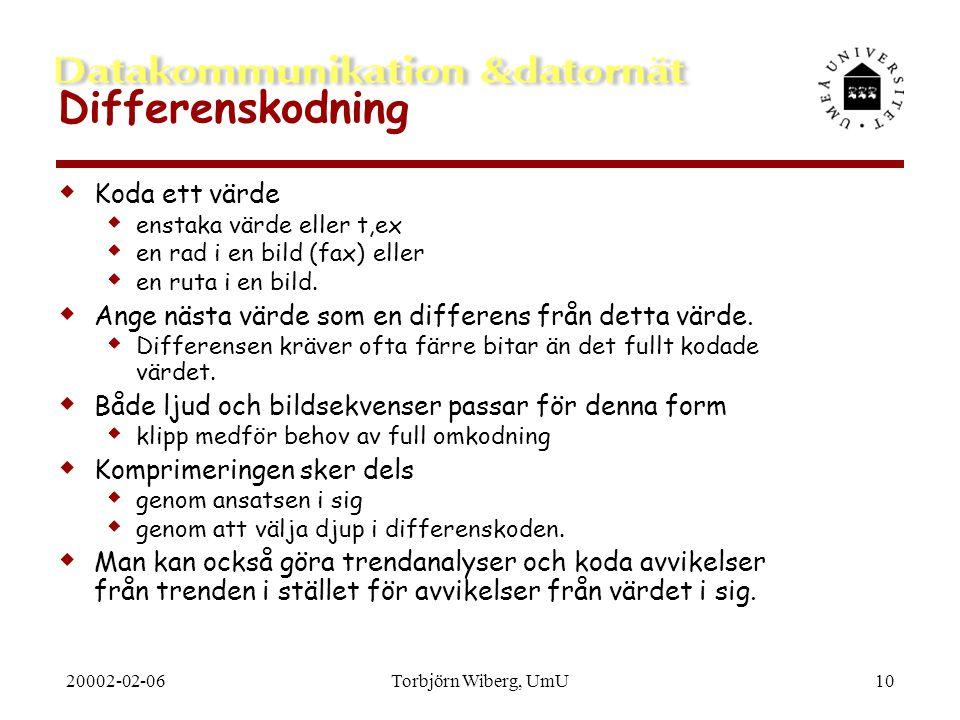 20002-02-06Torbjörn Wiberg, UmU10 Differenskodning  Koda ett värde  enstaka värde eller t,ex  en rad i en bild (fax) eller  en ruta i en bild.  A