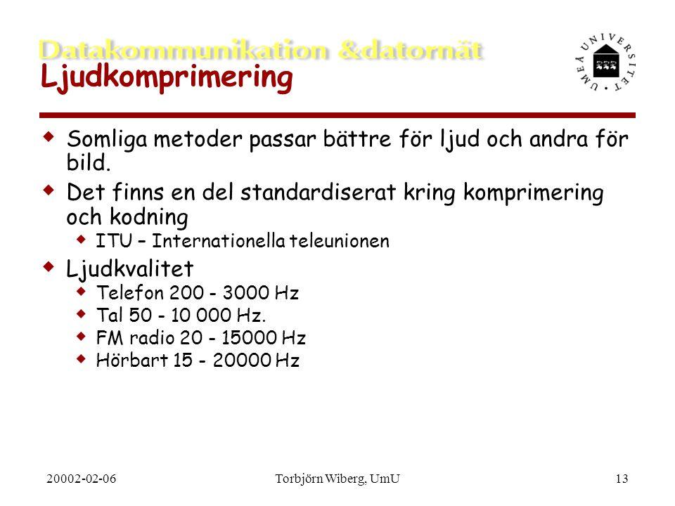 20002-02-06Torbjörn Wiberg, UmU13 Ljudkomprimering  Somliga metoder passar bättre för ljud och andra för bild.  Det finns en del standardiserat krin