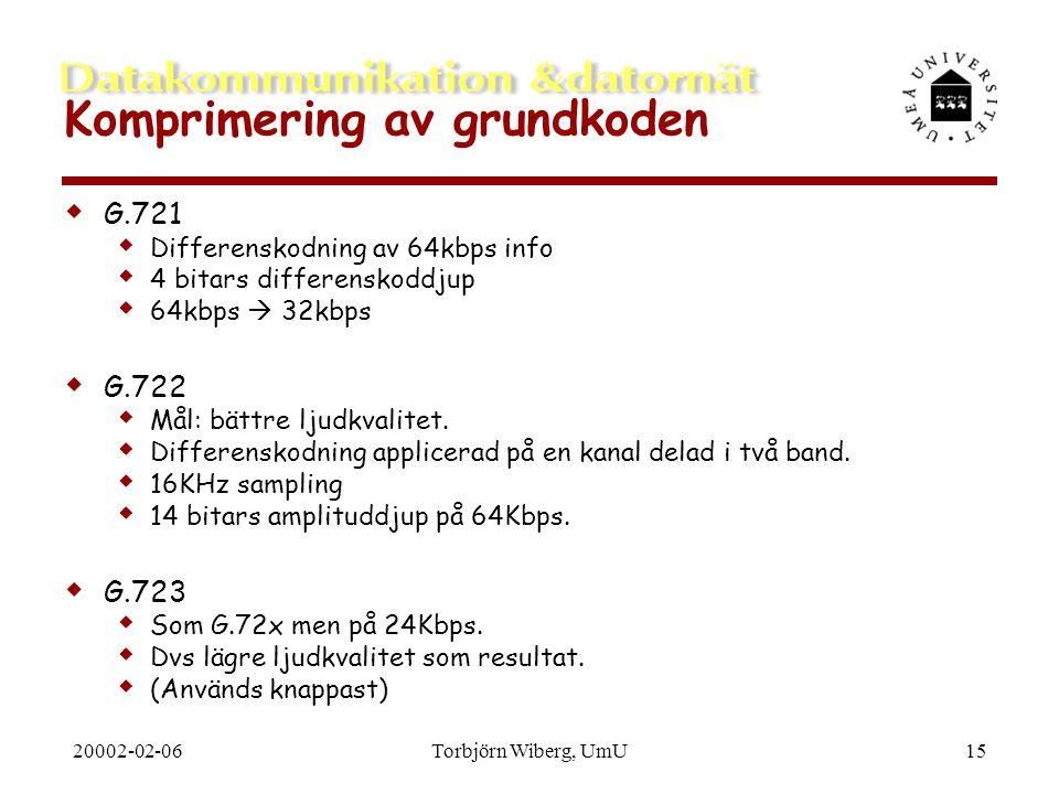 20002-02-06Torbjörn Wiberg, UmU15 Komprimering av grundkoden  G.721  Differenskodning av 64kbps info  4 bitars differenskoddjup  64kbps  32kbps 